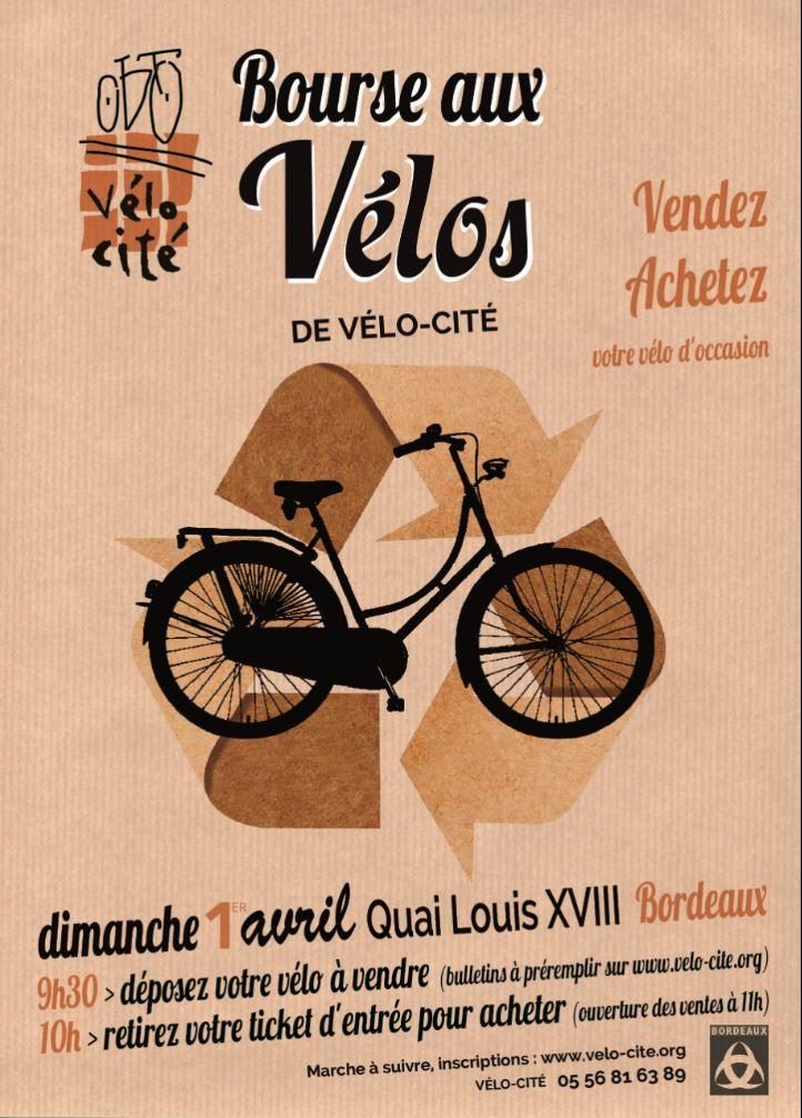 affiche bourse aux vélos - vélo-cité - bordeaux
