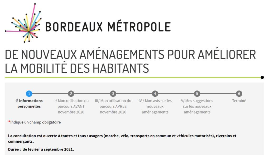 Formulaire Participation citoyenne Aménagements temporaires Bordeaux